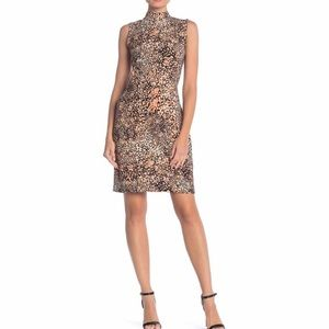 Sharagano Mock Neck Leopard Print Dress